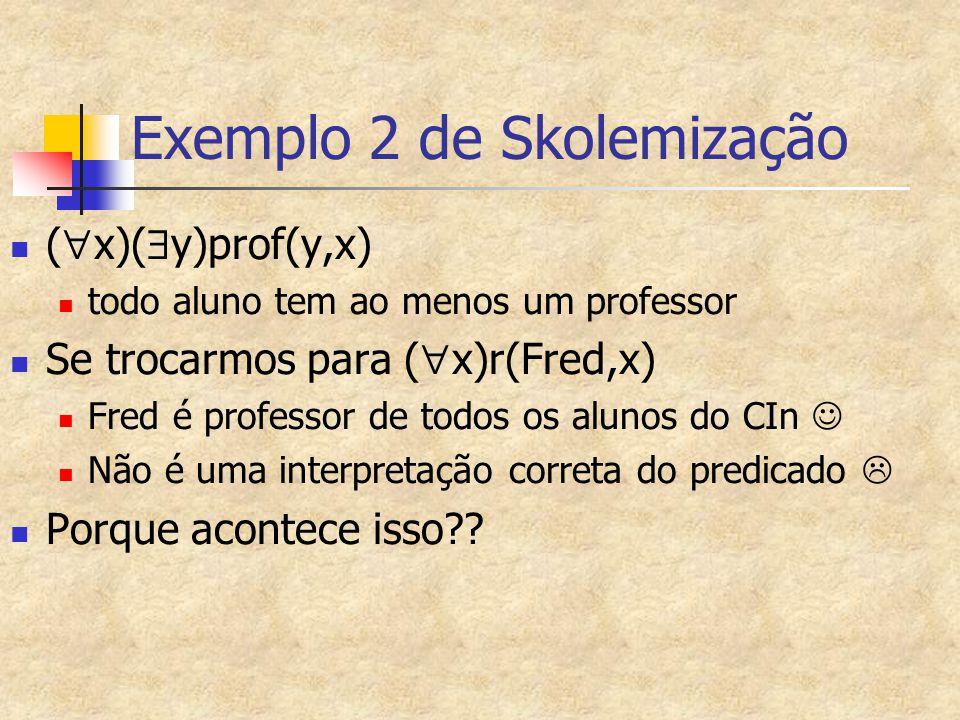 Exemplo 2 de Skolemização (  x)(  y)prof(y,x) todo aluno tem ao menos um professor Se trocarmos para (  x)r(Fred,x) Fred é professor de todos os al