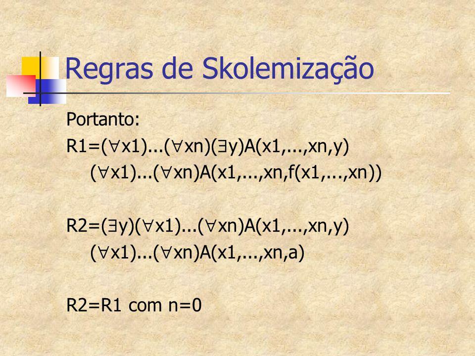 Regras de Skolemização Portanto: R1=(  x1)...(  xn)(  y)A(x1,...,xn,y) (  x1)...(  xn)A(x1,...,xn,f(x1,...,xn)) R2=(  y)(  x1)...(  xn)A(x1,..