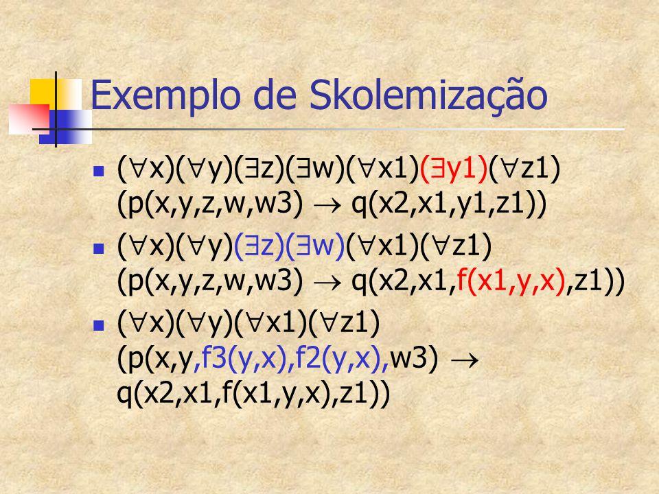 Exemplo de Skolemização (  x)(  y)(  z)(  w)(  x1)(  y1)(  z1) (p(x,y,z,w,w3)  q(x2,x1,y1,z1)) (  x)(  y)(  z)(  w)(  x1)(  z1) (p(x,y,z