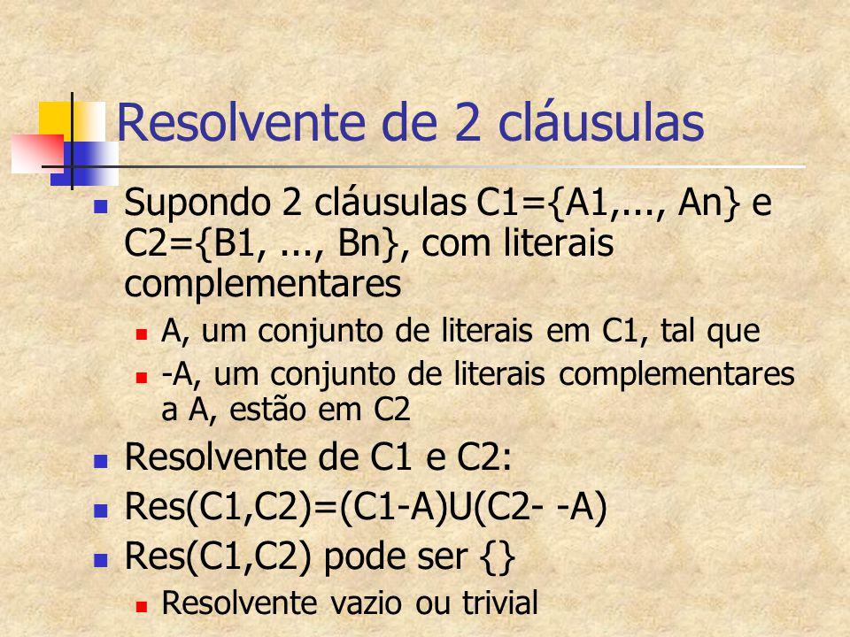 Resolvente de 2 cláusulas Supondo 2 cláusulas C1={A1,..., An} e C2={B1,..., Bn}, com literais complementares A, um conjunto de literais em C1, tal que -A, um conjunto de literais complementares a A, estão em C2 Resolvente de C1 e C2: Res(C1,C2)=(C1-A)U(C2- -A) Res(C1,C2) pode ser {} Resolvente vazio ou trivial