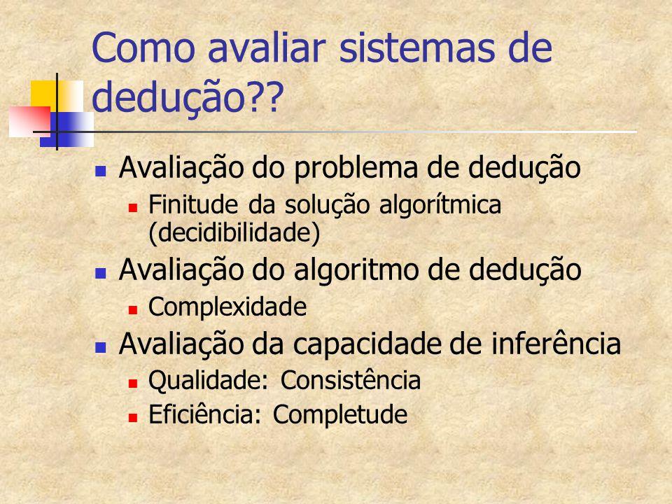 Como avaliar sistemas de dedução?? Avaliação do problema de dedução Finitude da solução algorítmica (decidibilidade) Avaliação do algoritmo de dedução