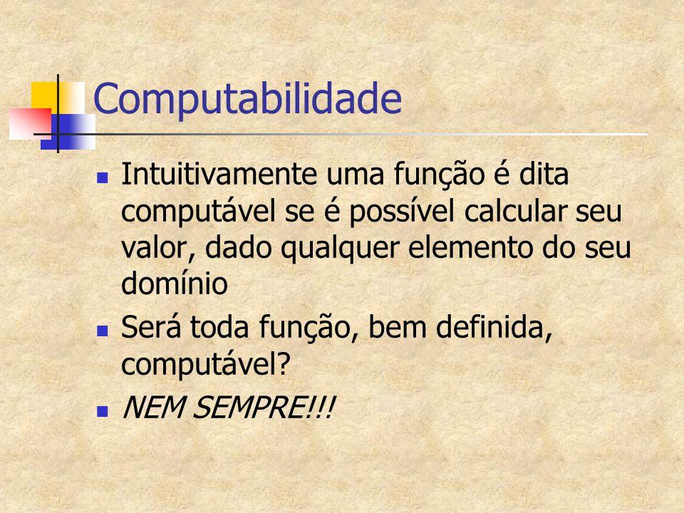 Computabilidade Intuitivamente uma função é dita computável se é possível calcular seu valor, dado qualquer elemento do seu domínio Será toda função,