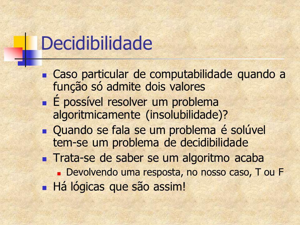 Decidibilidade Caso particular de computabilidade quando a função só admite dois valores É possível resolver um problema algoritmicamente (insolubilid