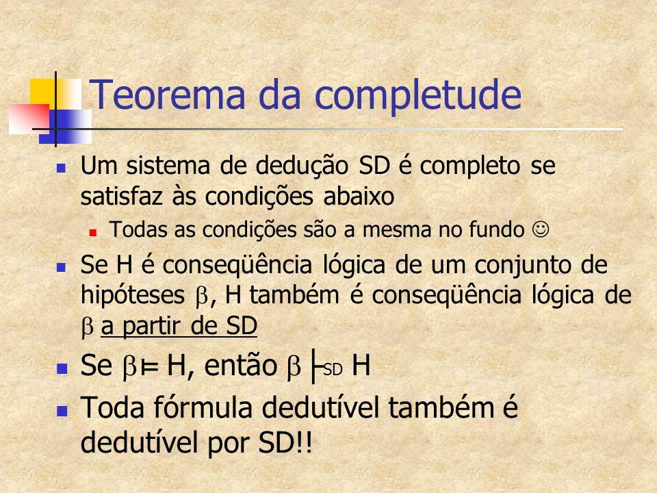 Teorema da completude Um sistema de dedução SD é completo se satisfaz às condições abaixo Todas as condições são a mesma no fundo Se H é conseqüência