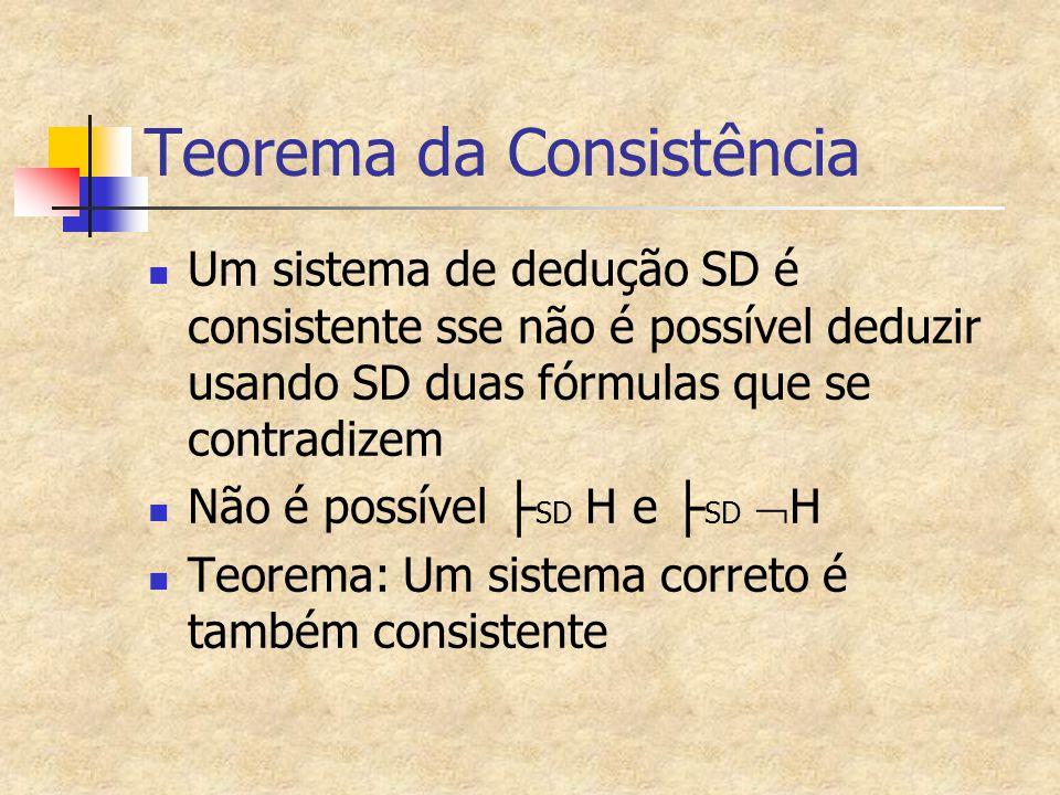 Teorema da Consistência Um sistema de dedução SD é consistente sse não é possível deduzir usando SD duas fórmulas que se contradizem Não é possível ├