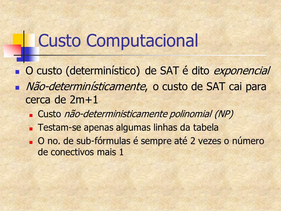 Custo Computacional O custo (determinístico) de SAT é dito exponencial Não-determinísticamente, o custo de SAT cai para cerca de 2m+1 Custo não-determ