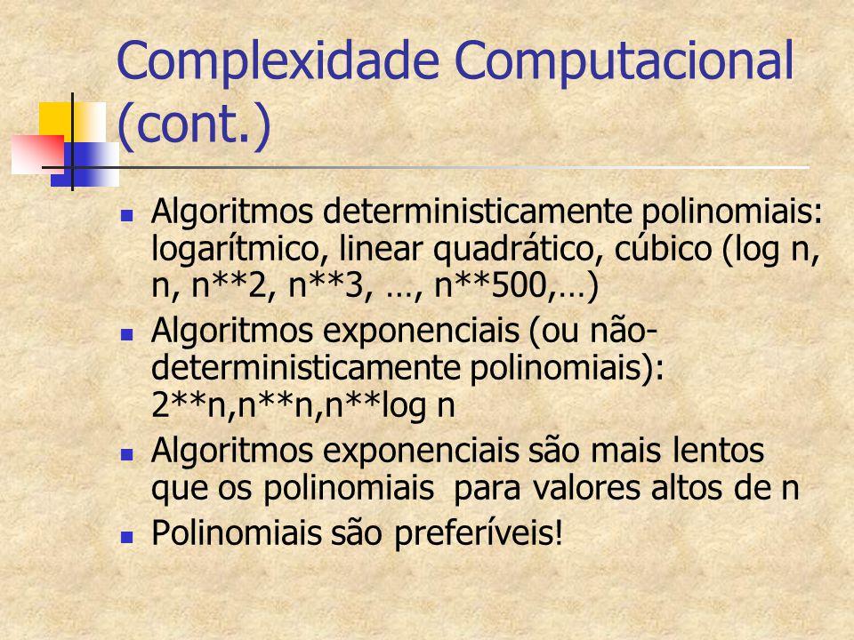 Complexidade Computacional (cont.) Algoritmos deterministicamente polinomiais: logarítmico, linear quadrático, cúbico (log n, n, n**2, n**3, …, n**500