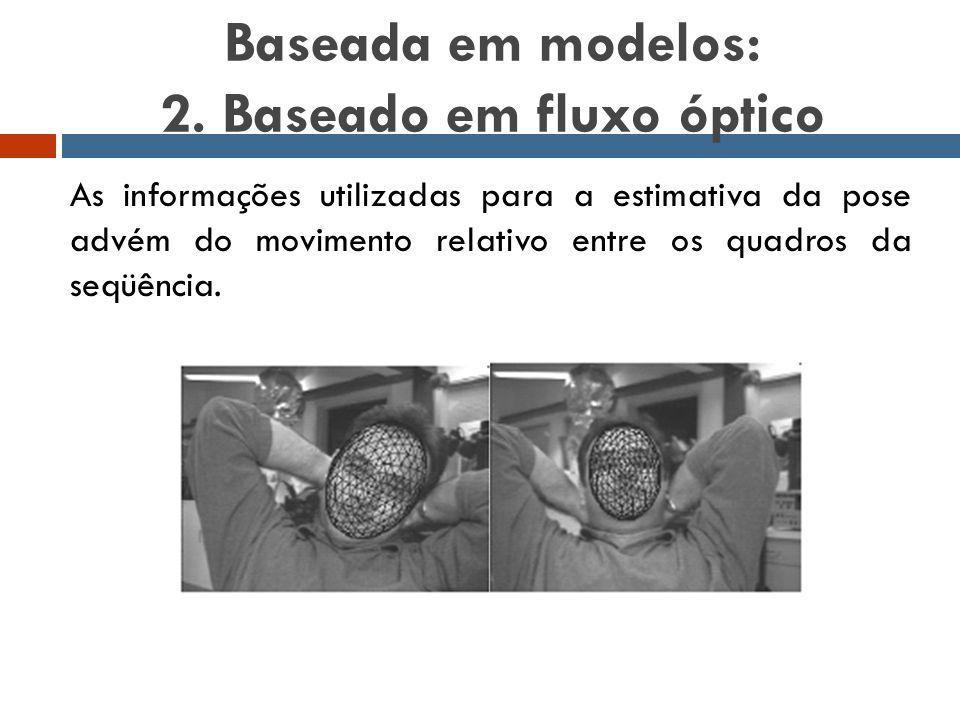 Baseada em modelos: 2. Baseado em fluxo óptico As informações utilizadas para a estimativa da pose advém do movimento relativo entre os quadros da seq
