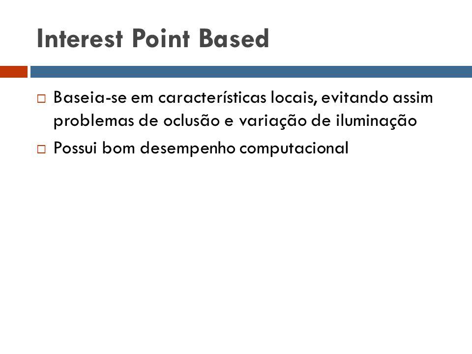 Interest Point Based  Baseia-se em características locais, evitando assim problemas de oclusão e variação de iluminação  Possui bom desempenho compu