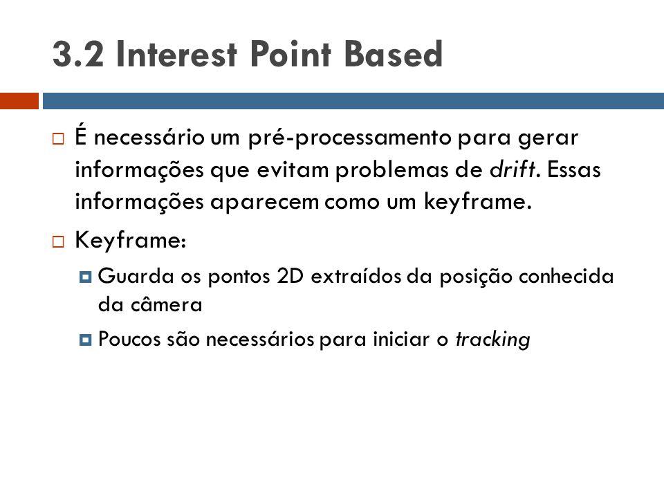 3.2 Interest Point Based  É necessário um pré-processamento para gerar informações que evitam problemas de drift. Essas informações aparecem como um
