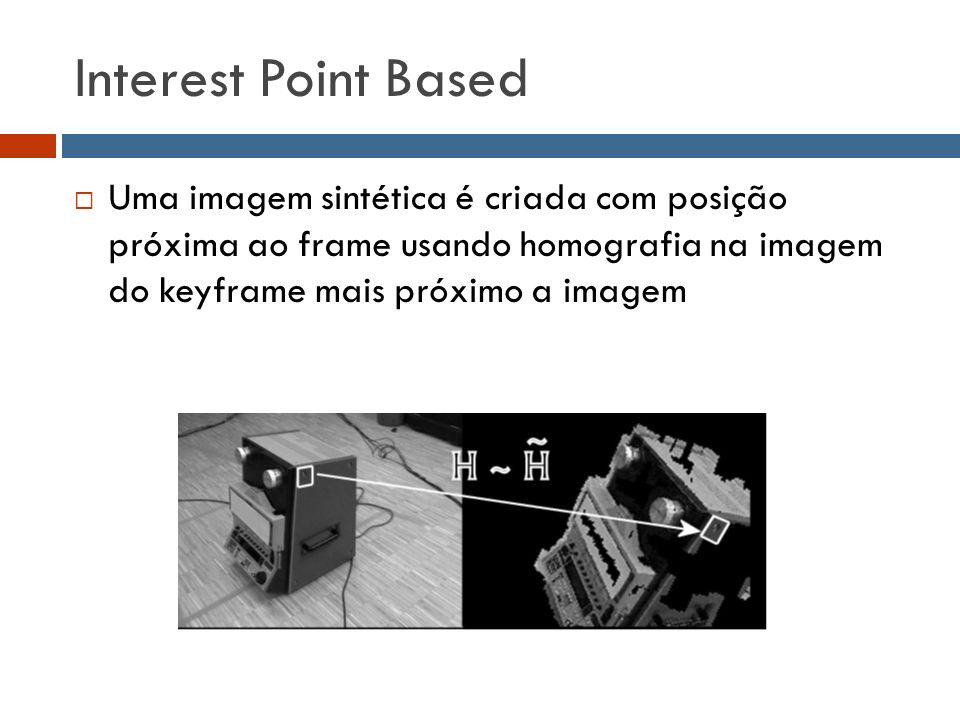 Interest Point Based  Uma imagem sintética é criada com posição próxima ao frame usando homografia na imagem do keyframe mais próximo a imagem