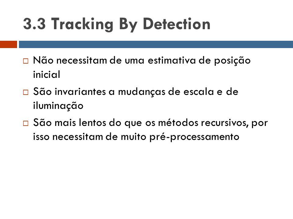 3.3 Tracking By Detection  Não necessitam de uma estimativa de posição inicial  São invariantes a mudanças de escala e de iluminação  São mais lent