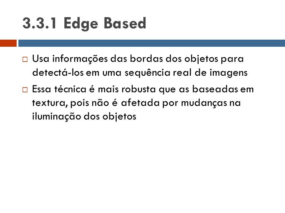 3.3.1 Edge Based  Usa informações das bordas dos objetos para detectá-los em uma sequência real de imagens  Essa técnica é mais robusta que as basea