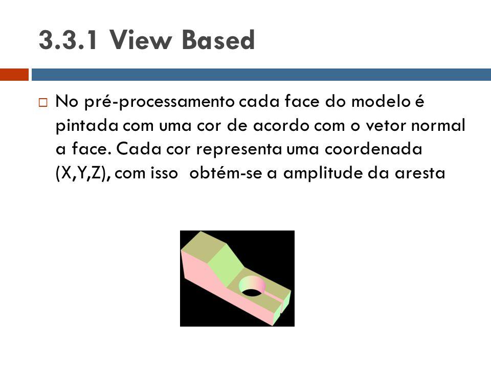 3.3.1 View Based  No pré-processamento cada face do modelo é pintada com uma cor de acordo com o vetor normal a face. Cada cor representa uma coorden