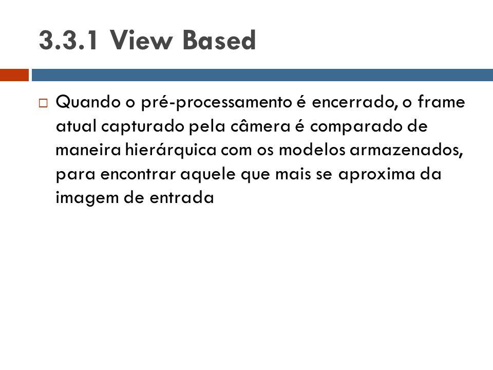  Quando o pré-processamento é encerrado, o frame atual capturado pela câmera é comparado de maneira hierárquica com os modelos armazenados, para enco