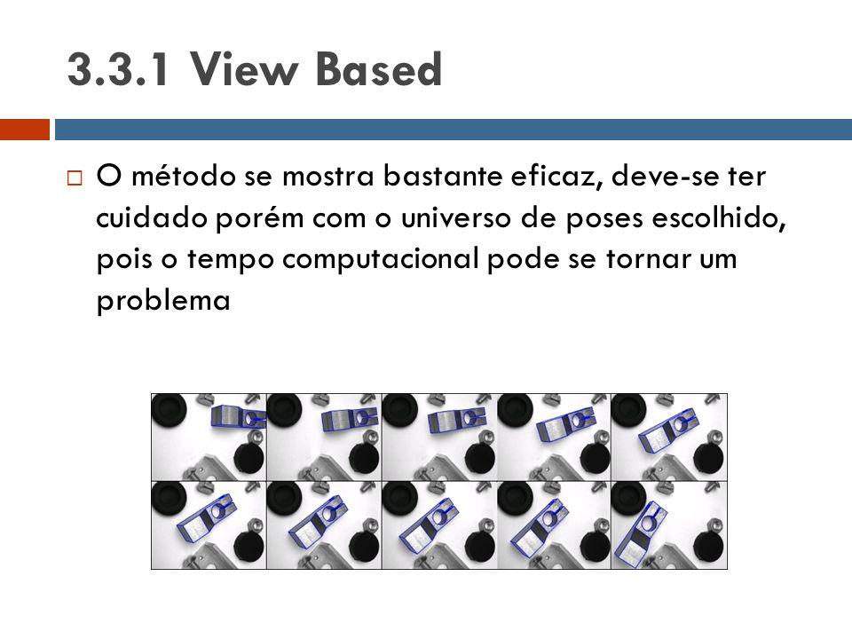 3.3.1 View Based  O método se mostra bastante eficaz, deve-se ter cuidado porém com o universo de poses escolhido, pois o tempo computacional pode se