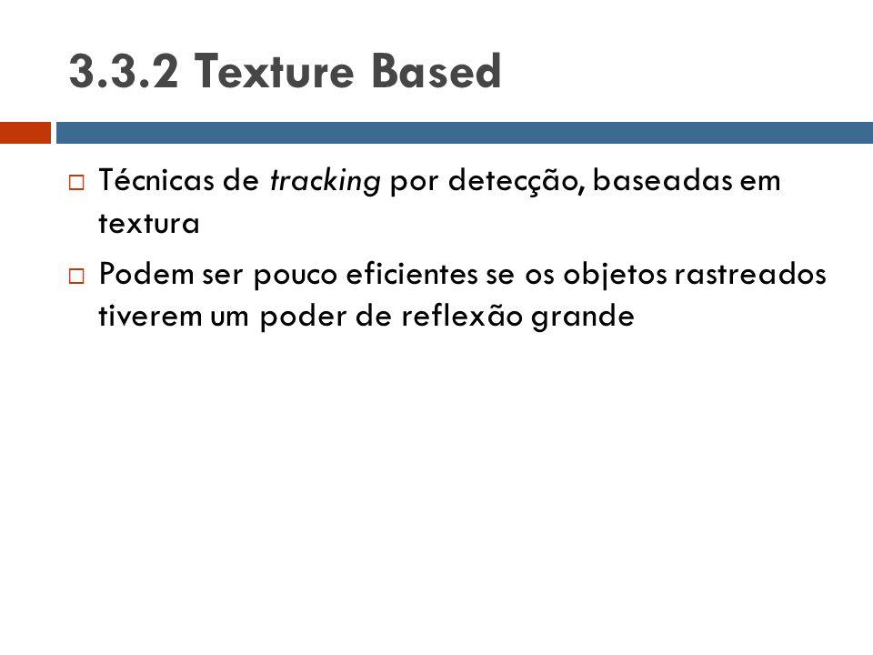 3.3.2 Texture Based  Técnicas de tracking por detecção, baseadas em textura  Podem ser pouco eficientes se os objetos rastreados tiverem um poder de
