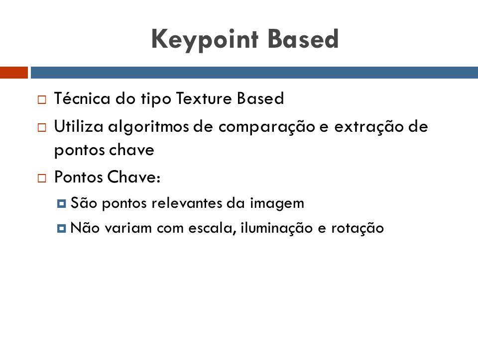 Keypoint Based  Técnica do tipo Texture Based  Utiliza algoritmos de comparação e extração de pontos chave  Pontos Chave:  São pontos relevantes d