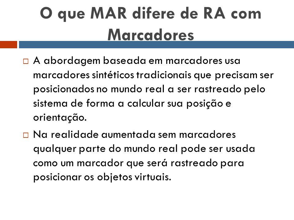 O que MAR difere de RA com Marcadores  A abordagem baseada em marcadores usa marcadores sintéticos tradicionais que precisam ser posicionados no mund