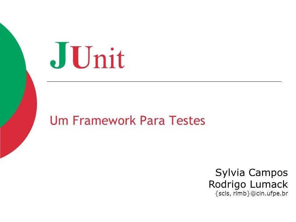 J U nit Um Framework Para Testes Sylvia Campos Rodrigo Lumack {scls, rlmb}@cin.ufpe.br