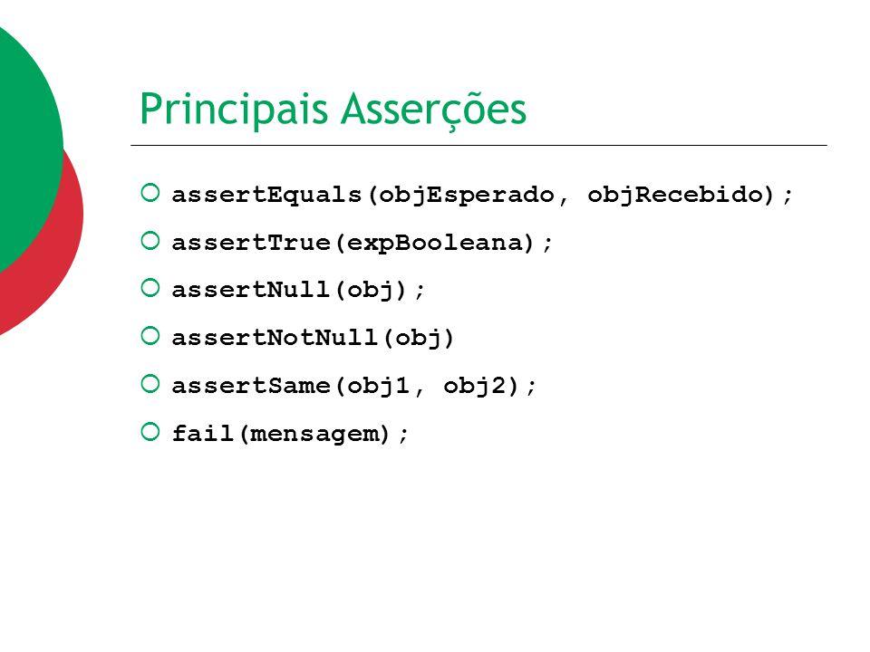 Principais Asserções  assertEquals(objEsperado, objRecebido);  assertTrue(expBooleana);  assertNull(obj);  assertNotNull(obj)  assertSame(obj1, o