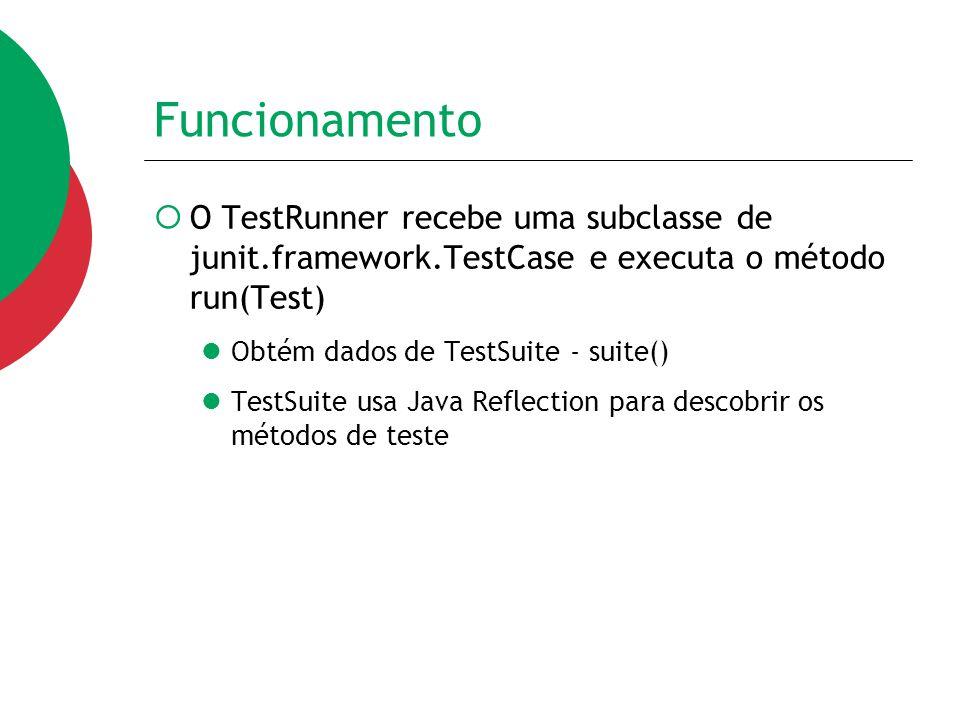 Funcionamento  O TestRunner recebe uma subclasse de junit.framework.TestCase e executa o método run(Test) Obtém dados de TestSuite - suite() TestSuit