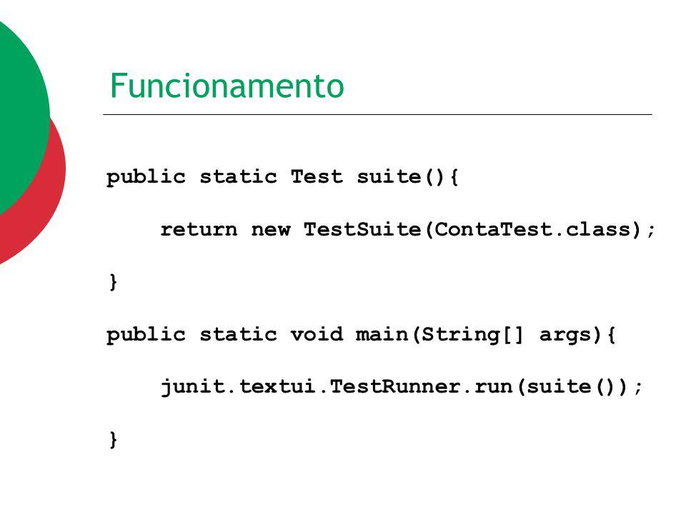 Funcionamento public static Test suite(){ return new TestSuite(ContaTest.class); } public static void main(String[] args){ junit.textui.TestRunner.run