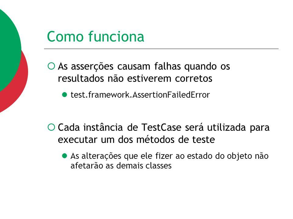 Como funciona  As asserções causam falhas quando os resultados não estiverem corretos test.framework.AssertionFailedError  Cada instância de TestCas