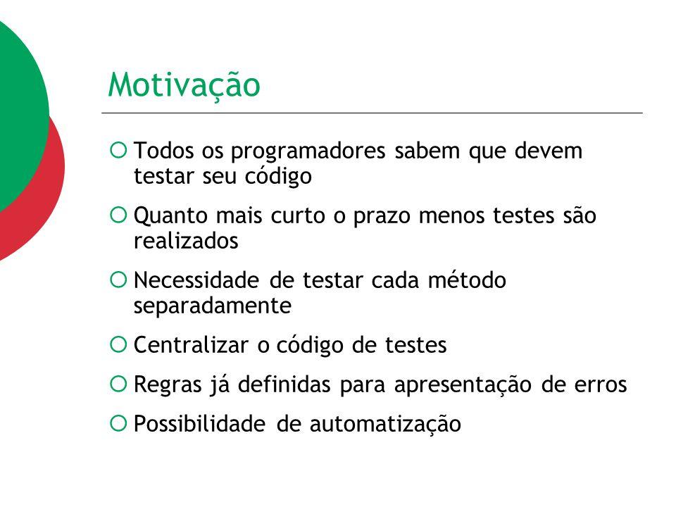 Principais Asserções  assertEquals(objEsperado, objRecebido);  assertTrue(expBooleana);  assertNull(obj);  assertNotNull(obj)  assertSame(obj1, obj2);  fail(mensagem);