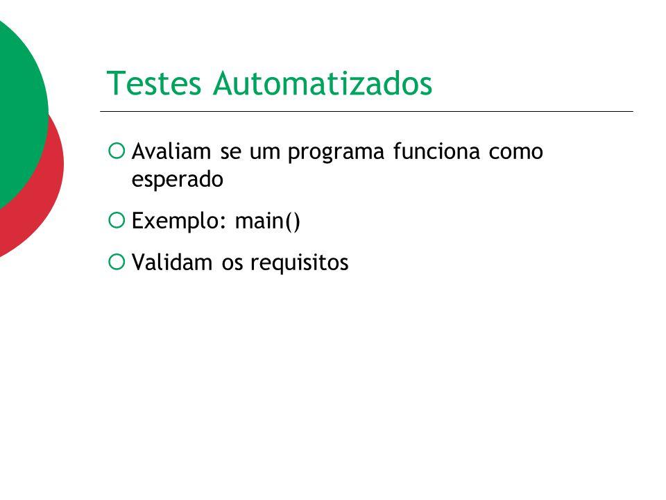 Testes Automatizados  Avaliam se um programa funciona como esperado  Exemplo: main()  Validam os requisitos
