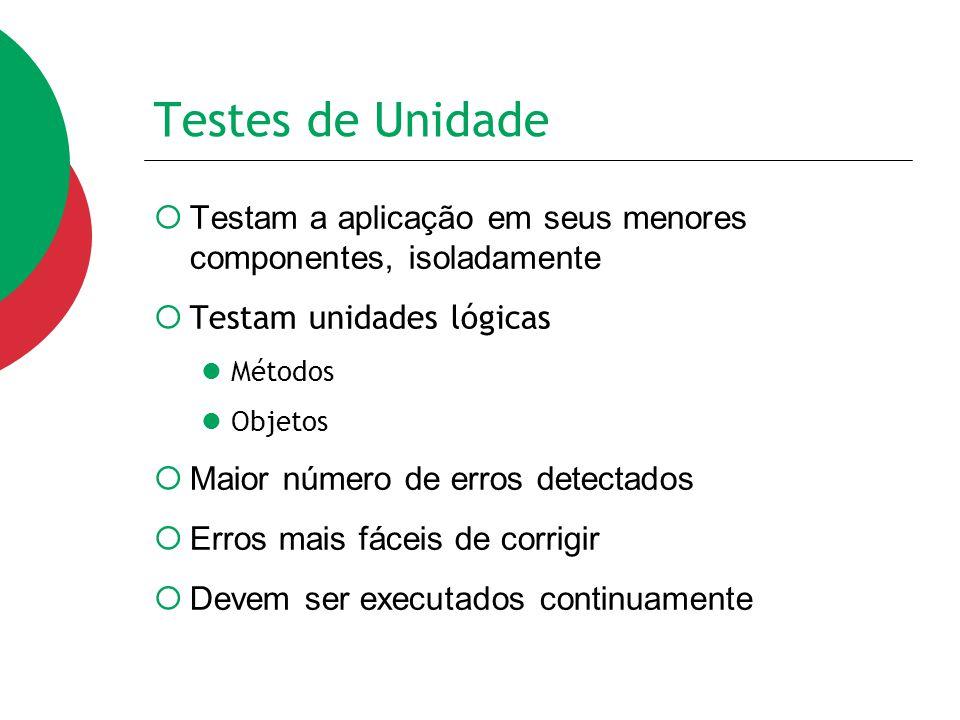 Testes de Unidade  Testam a aplicação em seus menores componentes, isoladamente  Testam unidades lógicas Métodos Objetos  Maior número de erros det