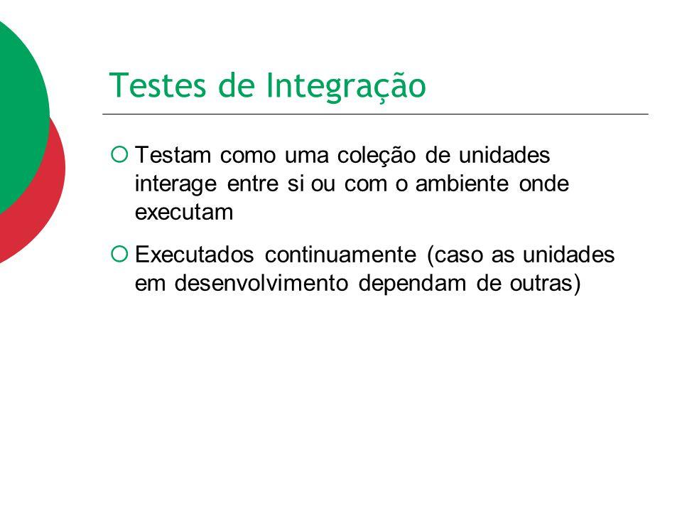 Testes de Integração  Testam como uma coleção de unidades interage entre si ou com o ambiente onde executam  Executados continuamente (caso as unida