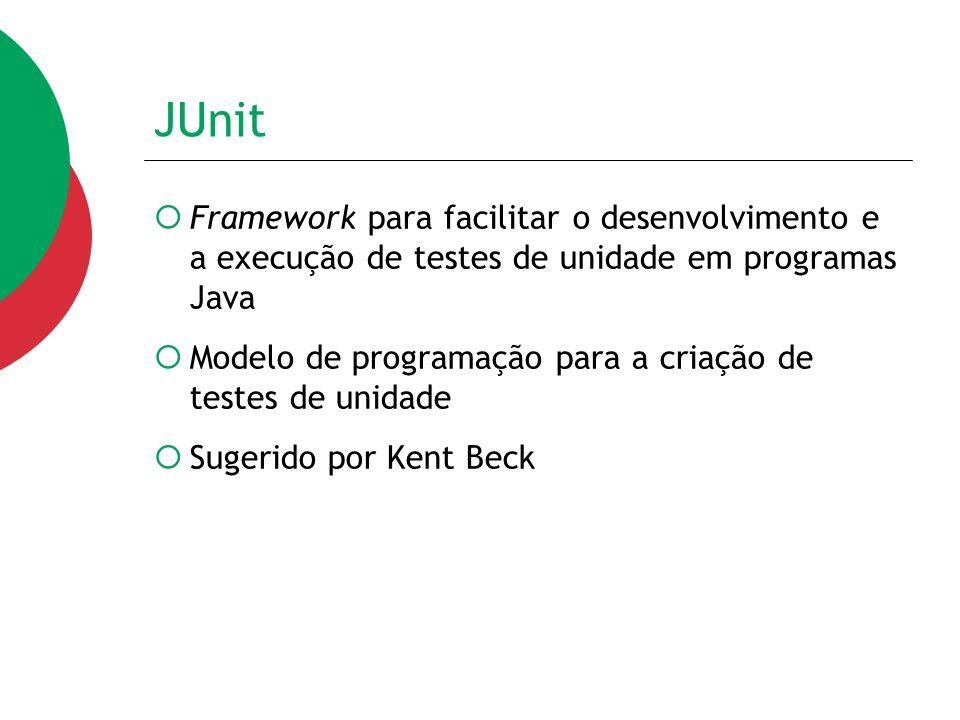 JUnit  Framework para facilitar o desenvolvimento e a execução de testes de unidade em programas Java  Modelo de programação para a criação de teste