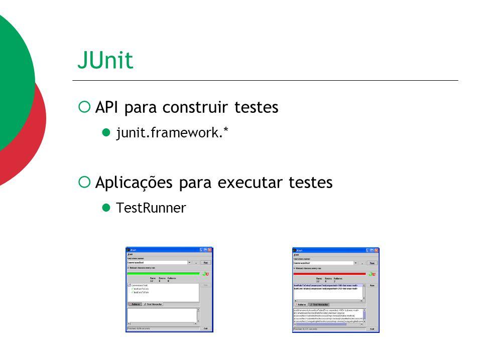 JUnit  O framework JUnit pode ser resumido em uma classe pai para todos os casos de teste (chamada TestCase) que fornece ferramentas para rodar testes, gerar relatórios e definir conjuntos de testes
