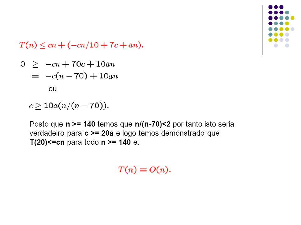 ou Posto que n >= 140 temos que n/(n-70)<2 por tanto isto seria verdadeiro para c >= 20a e logo temos demonstrado que T(20) = 140 e: