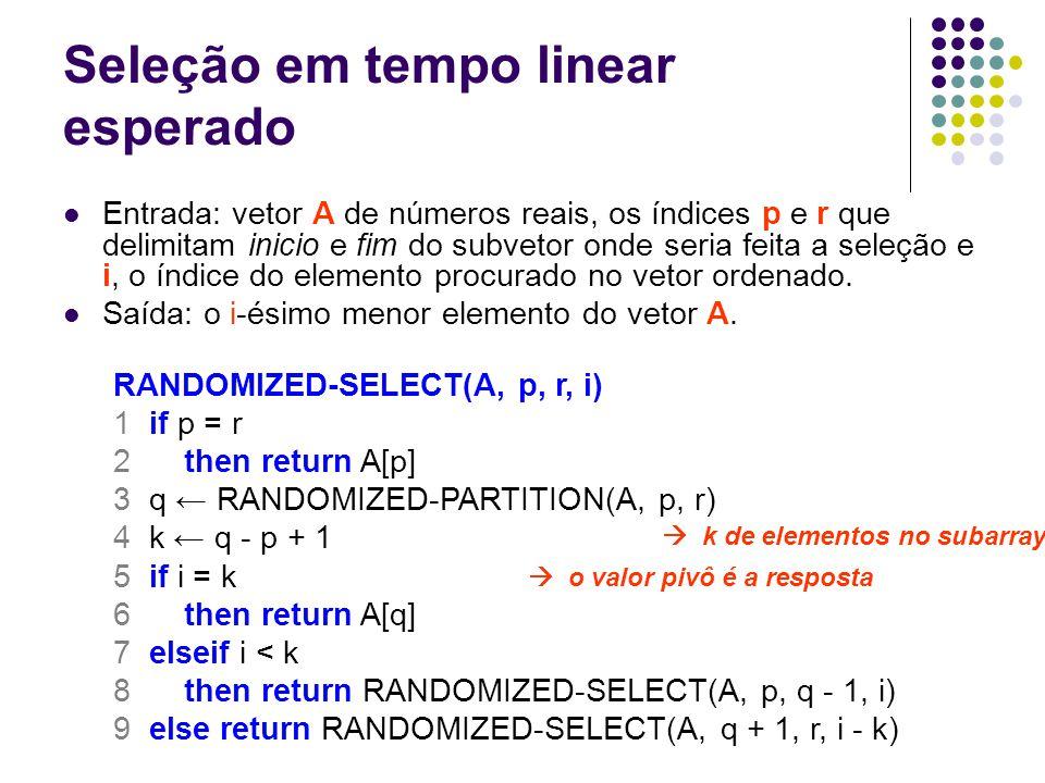 Seleção em tempo linear esperado Entrada: vetor A de números reais, os índices p e r que delimitam inicio e fim do subvetor onde seria feita a seleção e i, o índice do elemento procurado no vetor ordenado.