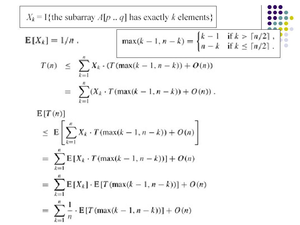 Necessitamos mostrar que n é suficientemente grande, esta expressão é no maior cn/4-c/2-an ≥ 0 Se assumimos que T(n)=O(1) para n<2c/(c-4a), temos T(n) = O(n).
