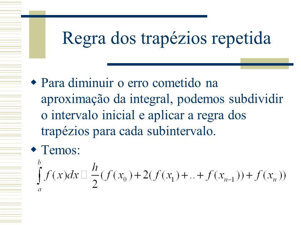 Regra dos trapézios repetida  Para diminuir o erro cometido na aproximação da integral, podemos subdividir o intervalo inicial e aplicar a regra dos trapézios para cada subintervalo.