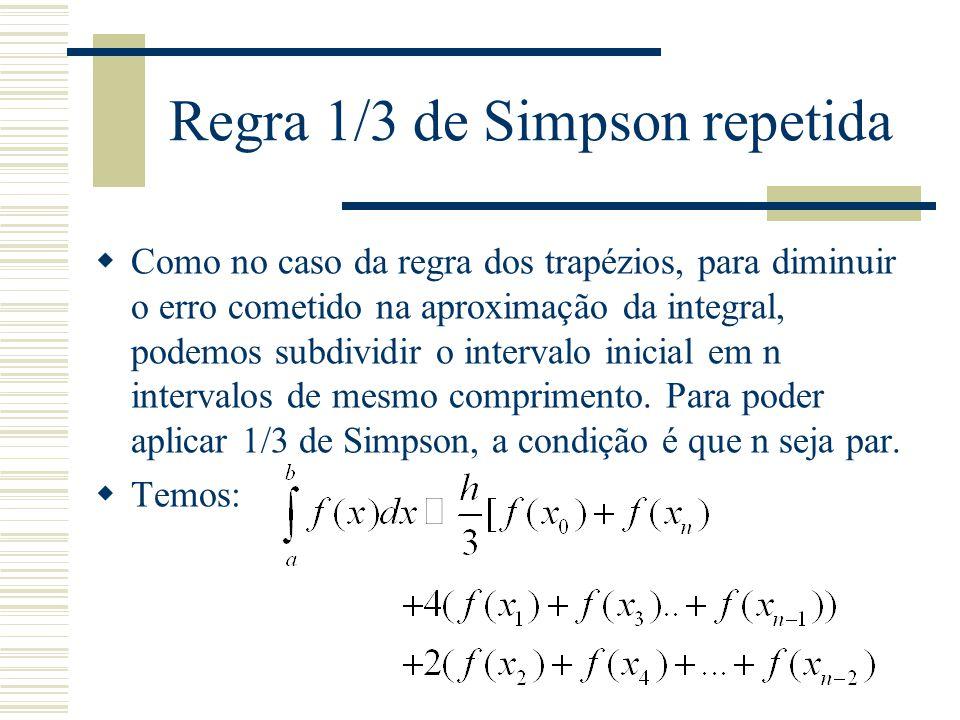 Regra 1/3 de Simpson repetida  Como no caso da regra dos trapézios, para diminuir o erro cometido na aproximação da integral, podemos subdividir o intervalo inicial em n intervalos de mesmo comprimento.
