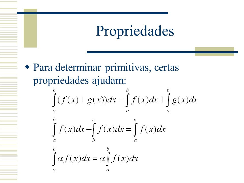 Pirmitivas conhecidas  Além disso, existem primitivas conhecidas de algumas funções: