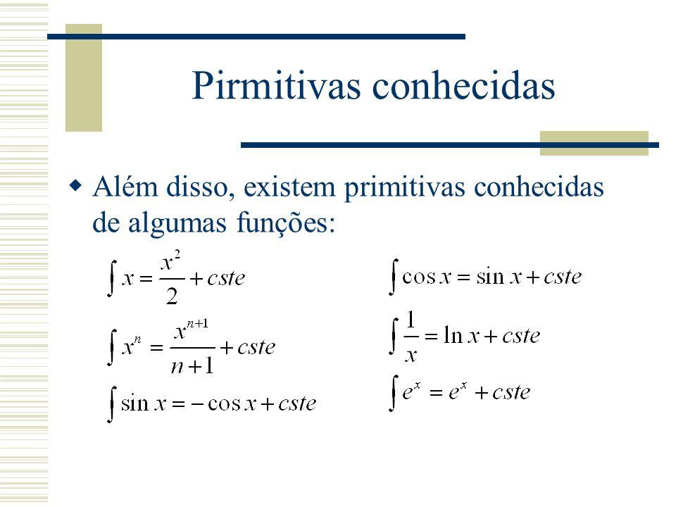 Propriedade  Existem também, métodos: Integração por parte: Troca de variável: