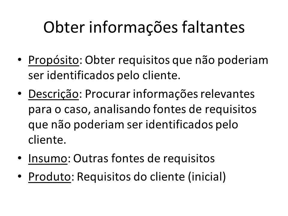 Obter informações faltantes Propósito: Obter requisitos que não poderiam ser identificados pelo cliente. Descrição: Procurar informações relevantes pa