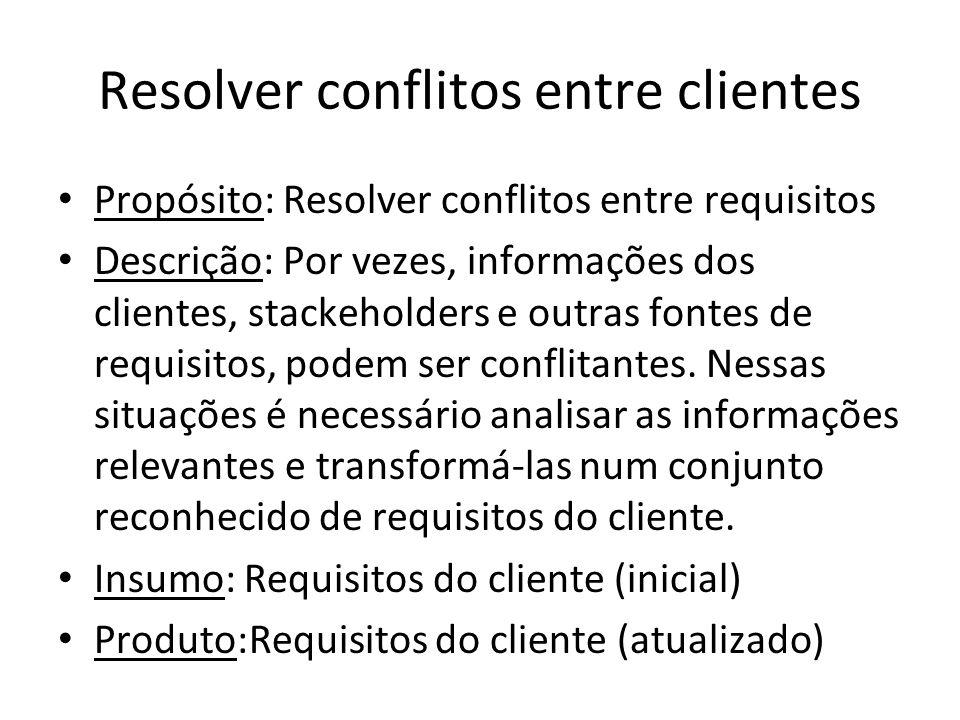 Resolver conflitos entre clientes Propósito: Resolver conflitos entre requisitos Descrição: Por vezes, informações dos clientes, stackeholders e outra