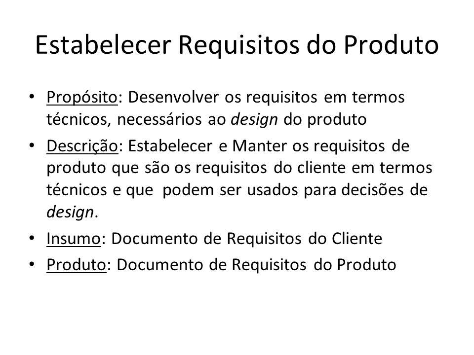 Estabelecer Requisitos do Produto Propósito: Desenvolver os requisitos em termos técnicos, necessários ao design do produto Descrição: Estabelecer e M