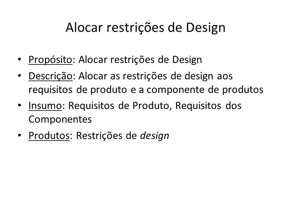 Alocar restrições de Design Propósito: Alocar restrições de Design Descrição: Alocar as restrições de design aos requisitos de produto e a componente