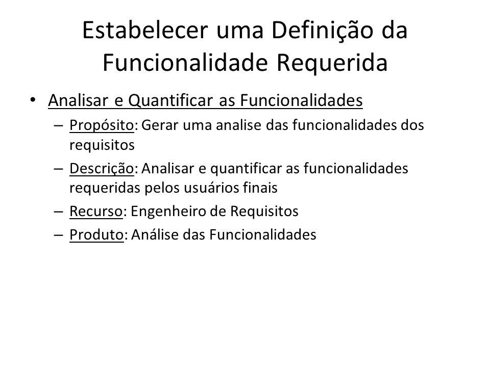 Estabelecer uma Definição da Funcionalidade Requerida Analisar e Quantificar as Funcionalidades – Propósito: Gerar uma analise das funcionalidades dos