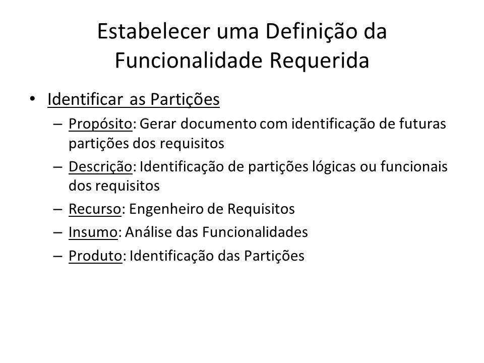 Estabelecer uma Definição da Funcionalidade Requerida Identificar as Partições – Propósito: Gerar documento com identificação de futuras partições dos