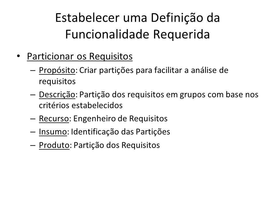 Estabelecer uma Definição da Funcionalidade Requerida Particionar os Requisitos – Propósito: Criar partições para facilitar a análise de requisitos –