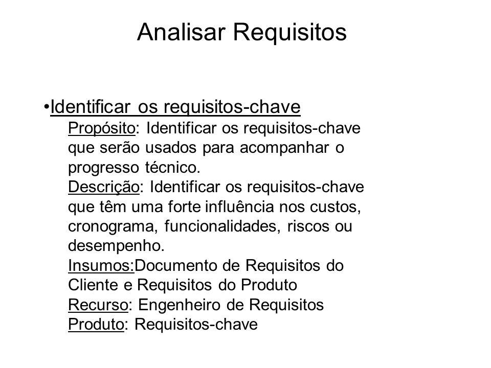 Analisar Requisitos Identificar os requisitos-chave Propósito: Identificar os requisitos-chave que serão usados para acompanhar o progresso técnico. D