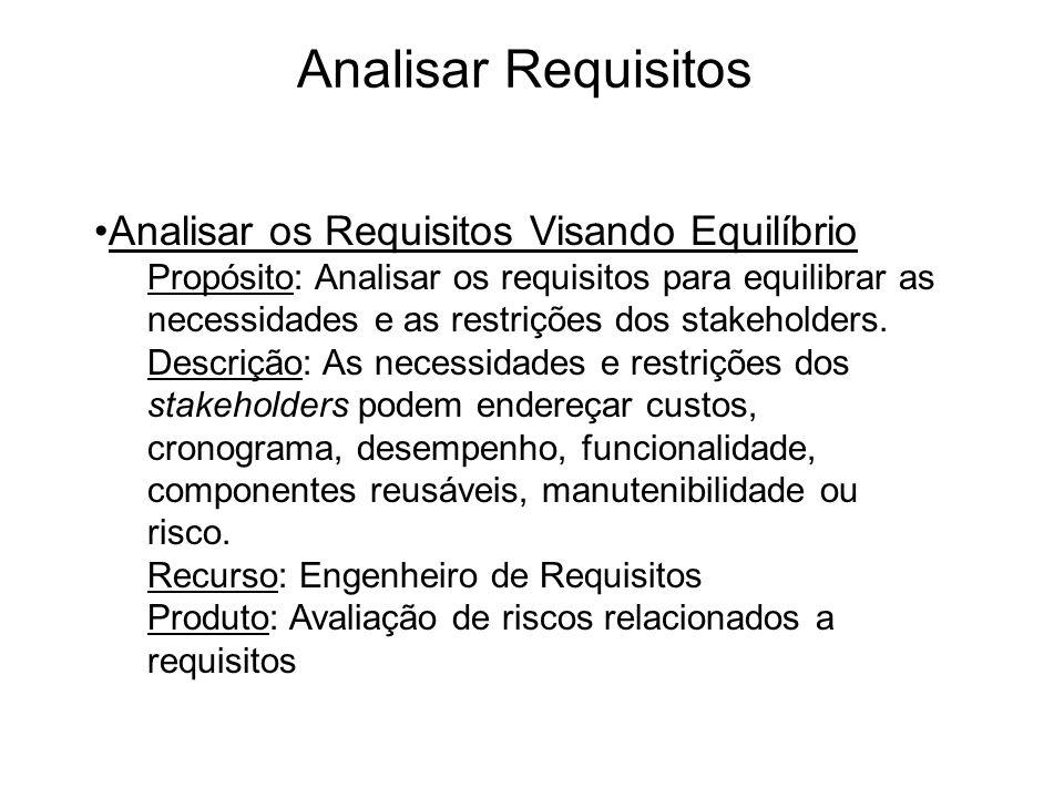 Analisar Requisitos Analisar os Requisitos Visando Equilíbrio Propósito: Analisar os requisitos para equilibrar as necessidades e as restrições dos st
